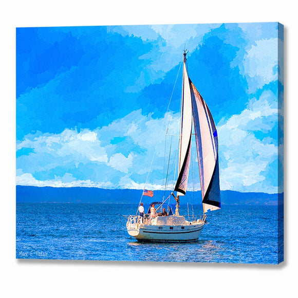 Monterey Bay Sailboat - California Canvas Print