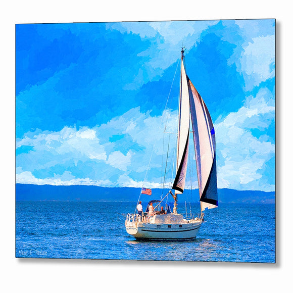 Monterey Bay Sailboat - California Metal Print