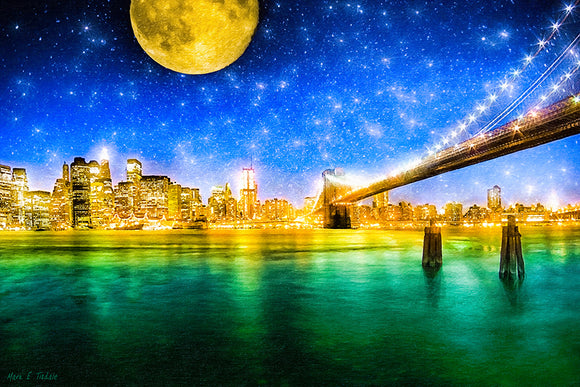 Moon Over Manhattan - New York City Art Print