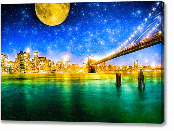 Moon Over Manhattan - New York City Canvas Print
