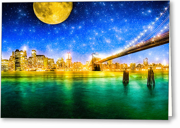 Moon Over Manhattan - New York City Greeting Card