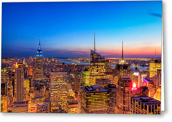 New York City At Night - Manhattan Greeting Card