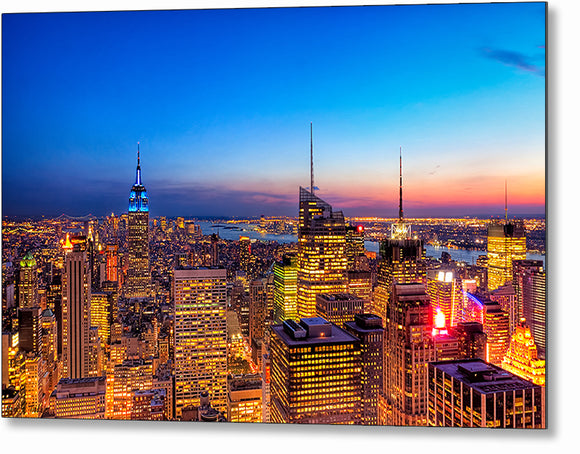 New York City At Night - Manhattan Metal Print