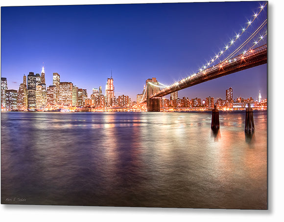 New York City At Night - Skyline Metal Print