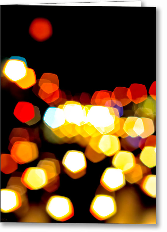 New York City Lights - Urban Abstract Greeting Card