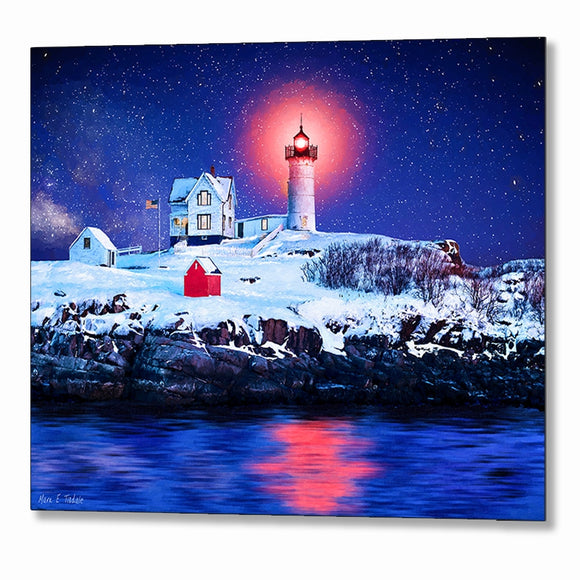 Nubble Light - Winter Night Metal Print