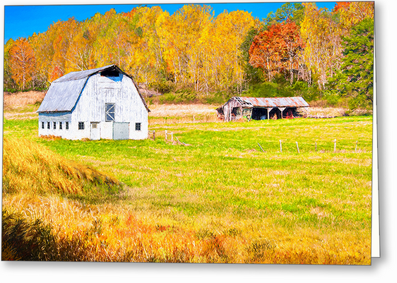 Old Barn - Georgia Fall Color Greeting Card