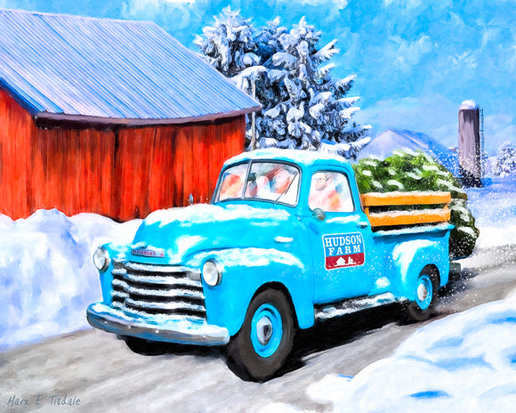Old Blue Truck In The Snow - Winter Art Print