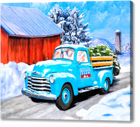 Old Blue Truck In The Snow - Winter Canvas Print