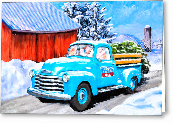 Old Blue Truck In The Snow - Winter Greeting Card