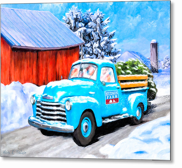 Old Blue Truck In The Snow - Winter Metal Print