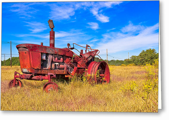 Old Farm Tractor - Georgia Landscape Greeting Card