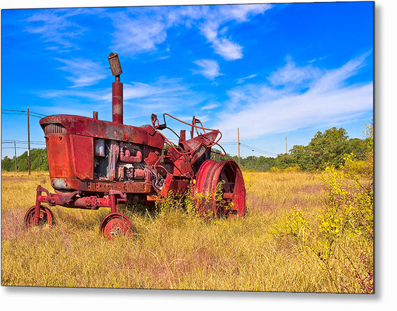 Old Farm Tractor - Georgia Landscape Metal Print