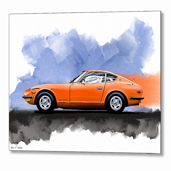 Orange Datsun 240Z - Classic Car Metal Print