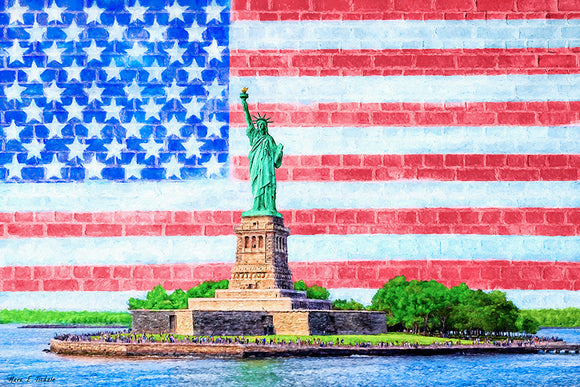 Patriotic Statue of Liberty Art Print