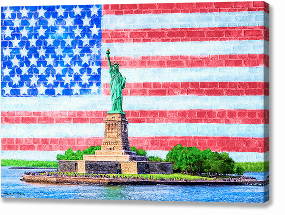 Patriotic Statue of Liberty Canvas Print