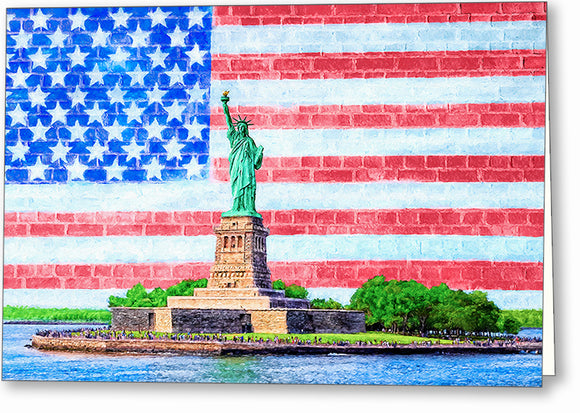 Patriotic Statue of Liberty Greeting Card