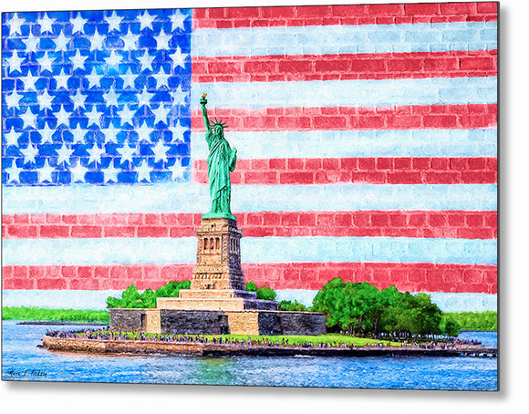 Patriotic Statue of Liberty Metal Print