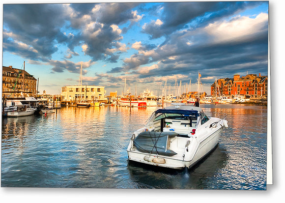 Peaceful Evening - Boston Waterfront Greeting Card