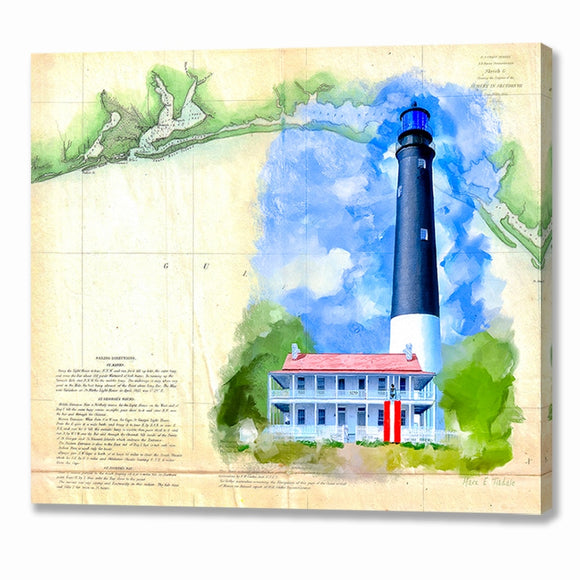 Pensacola Lighthouse - Vintage Florida Map Canvas Print