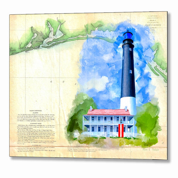 Pensacola Lighthouse - Vintage Florida Map Metal Print