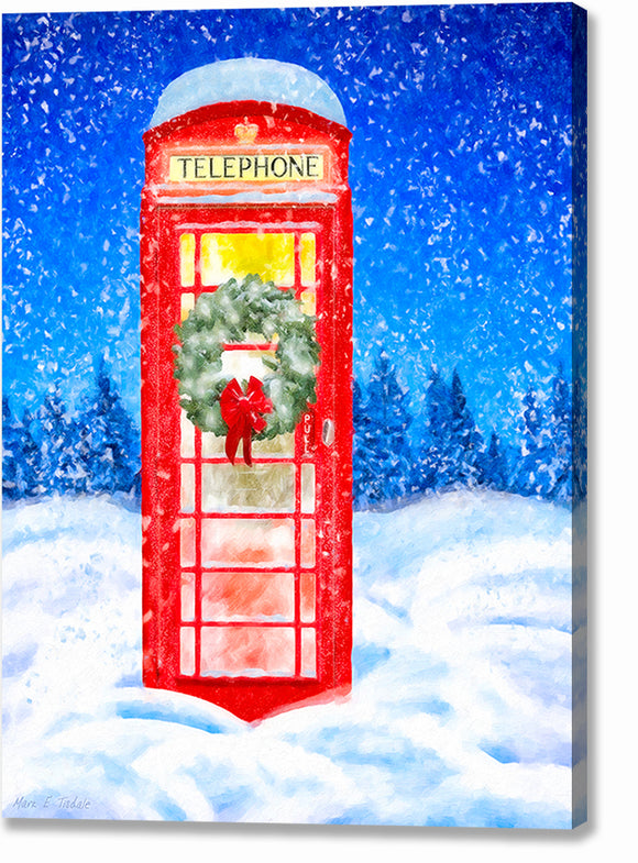 Phone Box In the Snow - British Christmas Canvas Print