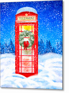 Phone Box In the Snow - British Christmas Metal Print