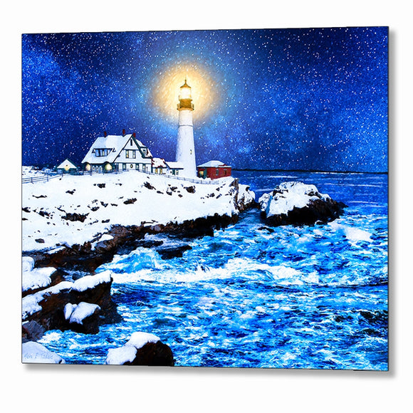 Portland Head Light In The Snow - Winter Night Metal Print