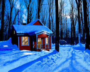 Red Cabin In The Snow - Winter Night Art Print