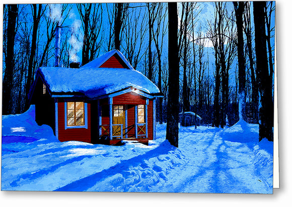 Red Cabin In The Snow - Winter Night Greeting Card