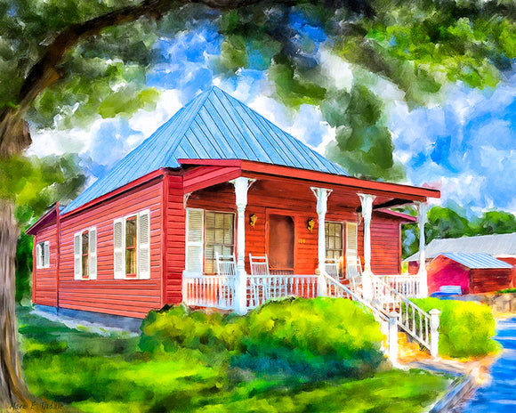 Red Cottage Artwork - Georgia Art Print