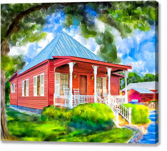 Red Cottage Artwork - Georgia Canvas Print