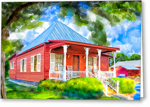 Red Cottage Artwork - Georgia Greeting Card