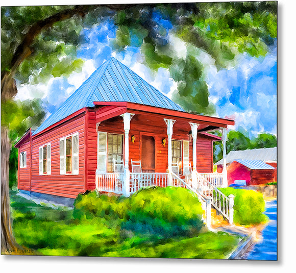 Red Cottage Artwork - Georgia Metal Print