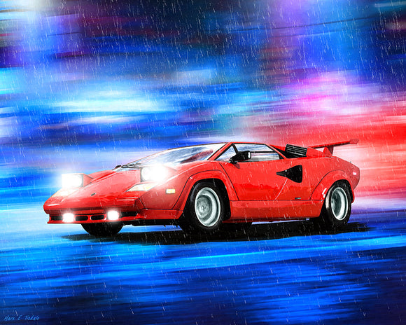 Red Lamborghini Countach - Classic Car Art Print