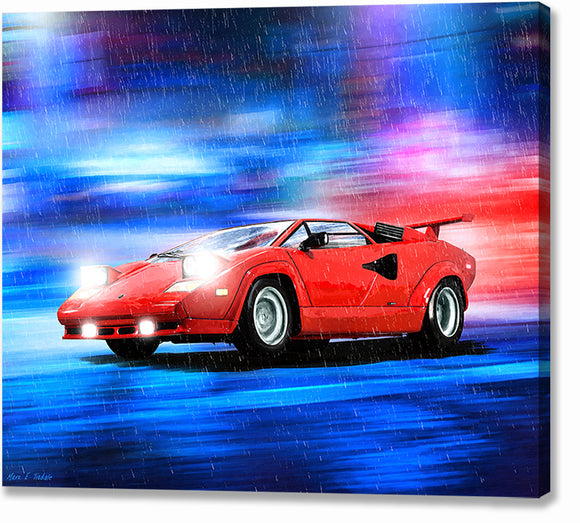 Red Lamborghini Countach - Classic Car Canvas Print