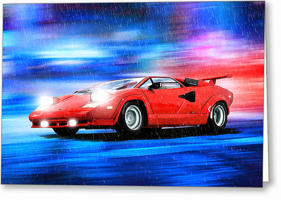 Red Lamborghini Countach - Classic Car Greeting Card