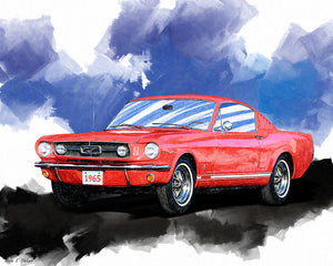 Red Mustang Fastback - Classic Car Art Print