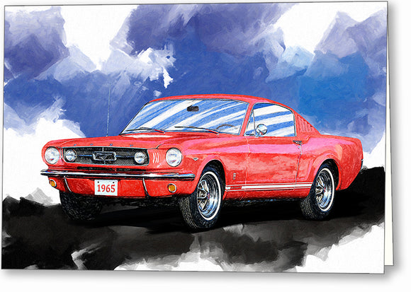 Red Mustang Fastback - Classic Car Greeting Card