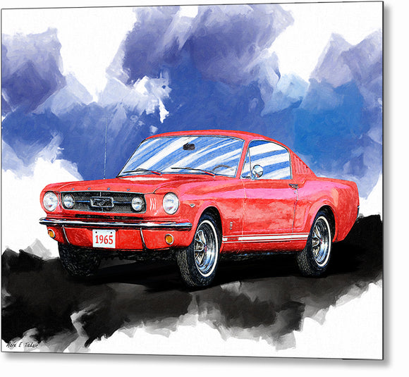 Red Mustang Fastback - Classic Car Metal Print
