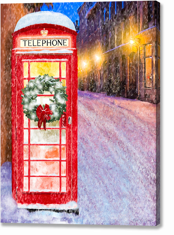 Red Phone Booth - British Christmas Canvas Print