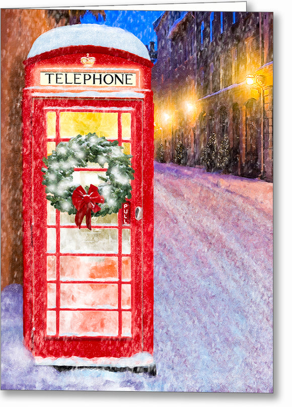 Red Phone Booth - British Christmas Card
