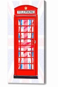 Red Phone Booth - Union Jack Design Canvas Print