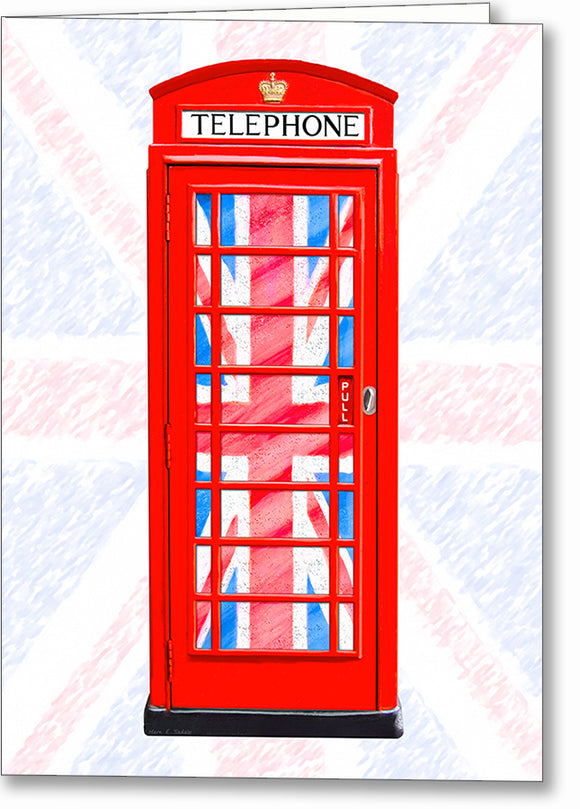 Red Phone Booth - Union Jack Design Greeting Card