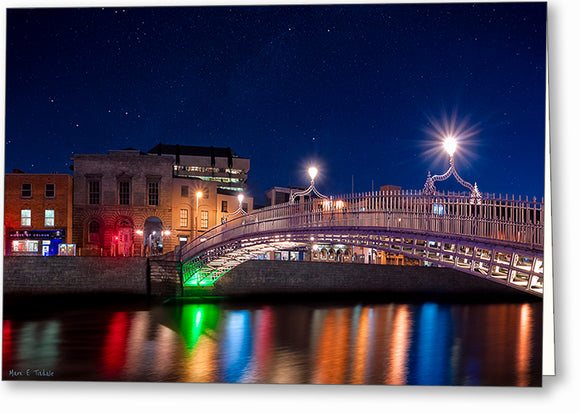 River Liffey At Night - Dublin Greeting Card