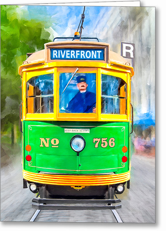 River Street Streetcar - Savannah Greeting Card