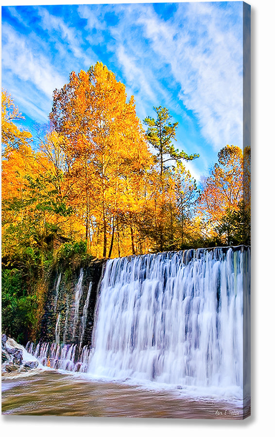 Roswell Mill Dam - Georgia Fall Color Canvas Print