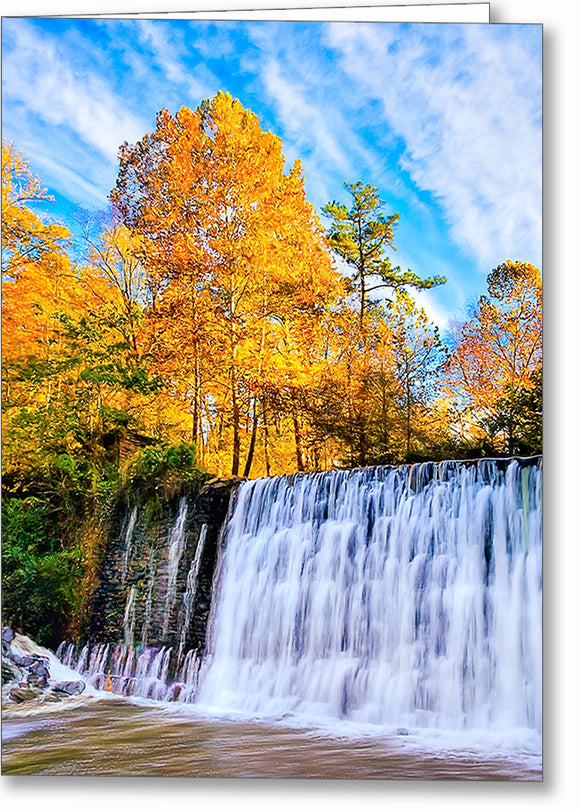 Roswell Mill Dam - Georgia Fall Color Greeting Card