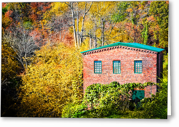 Roswell Mill - Georgia Fall Color Greeting Card