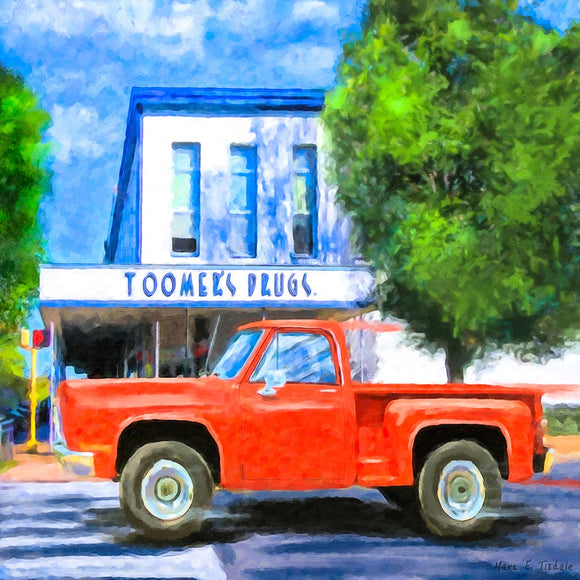 Rushing By Toomer's Drugs - Auburn Landmark - Art Print